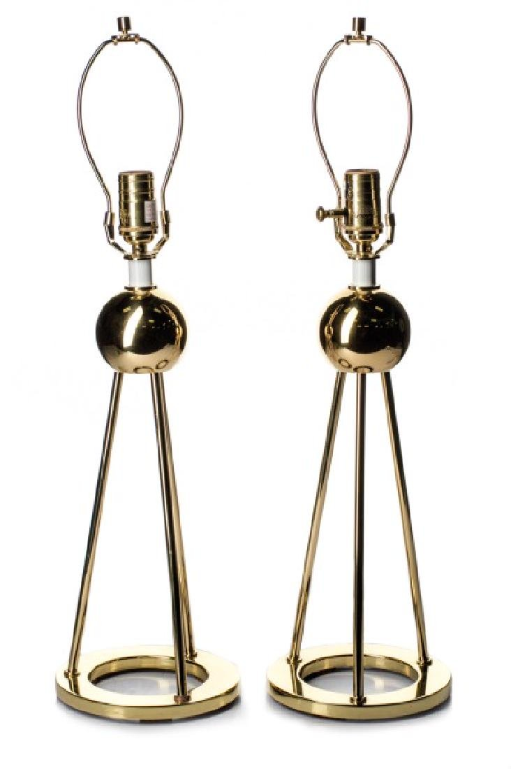 """Pair, Modern Brass Von Nessen """"Tripod"""" Table Lamps"""