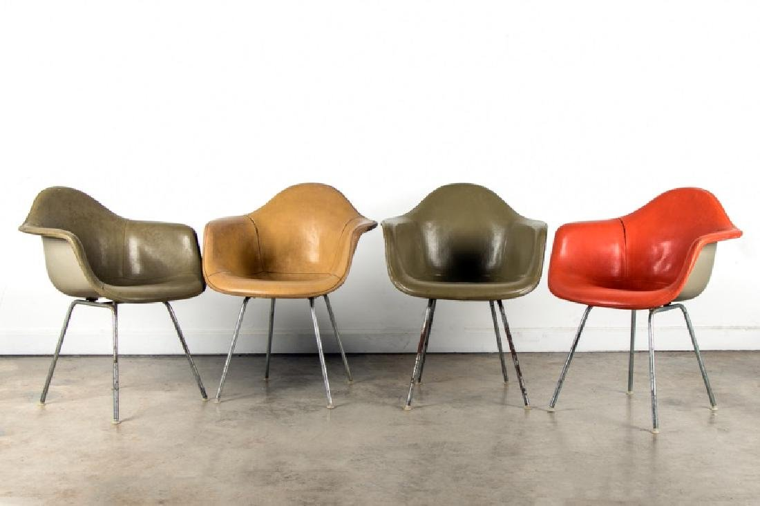 Set of 4 Vintage Eames Shell Arm Chairs