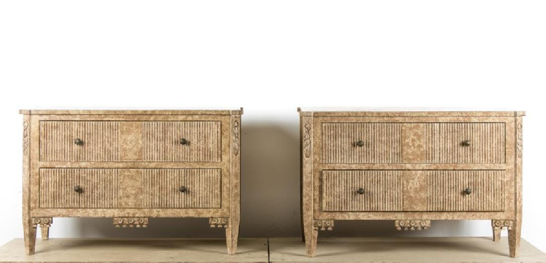 Pair, Custom Made Italian Style Distressed Chests