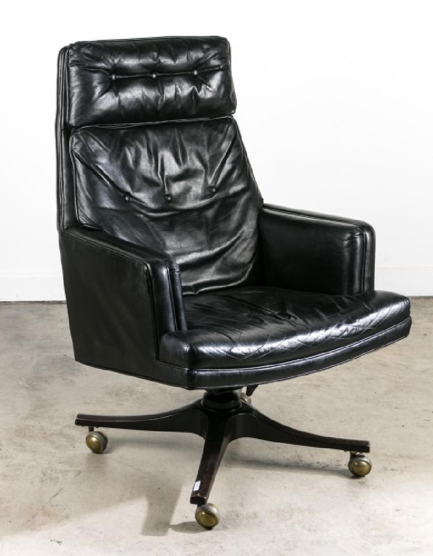 Edward Wormley for Dunbar Black Leather Desk Chair