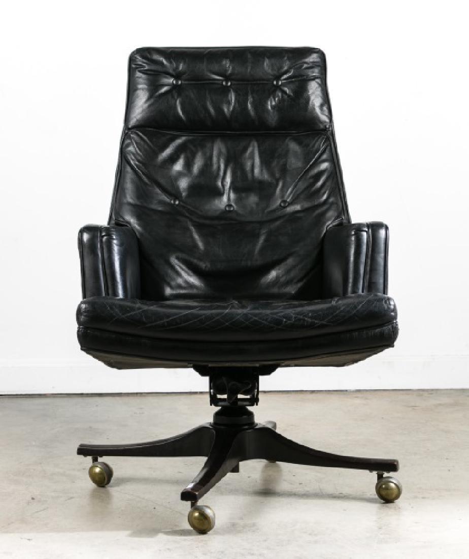 Edward Wormley for Dunbar Black Leather Desk Chair - 2