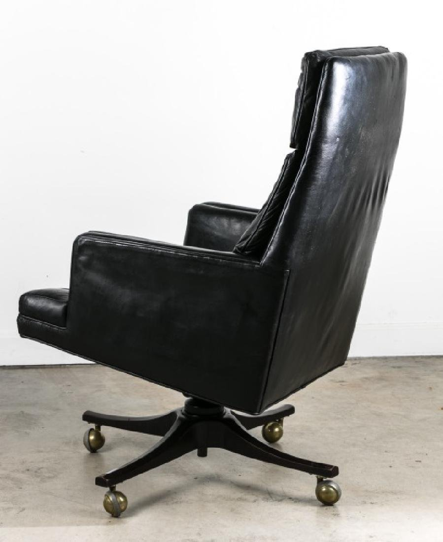 Edward Wormley for Dunbar Black Leather Desk Chair - 3