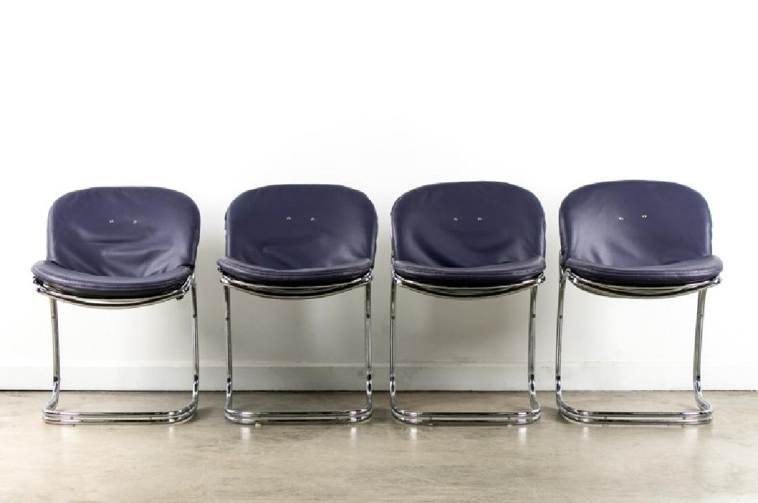 4 Rinadli Chrome Sabrina Chairs w/ Edelman leather