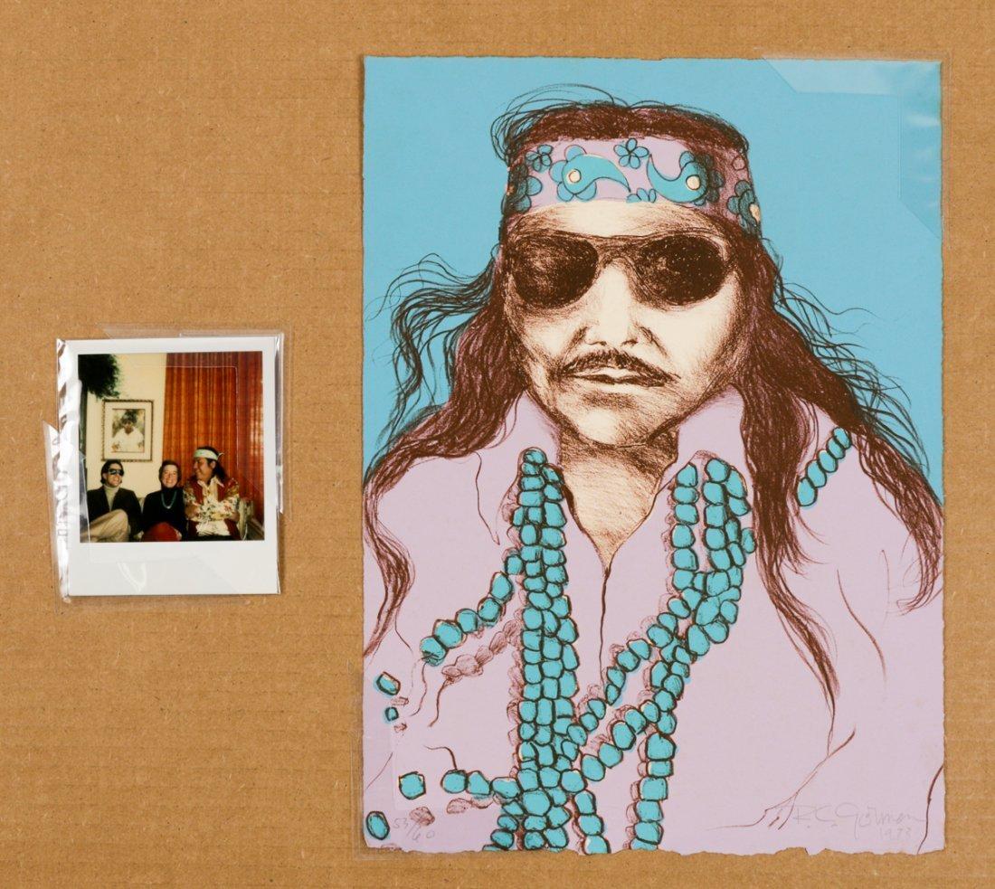 R.C. Gorman Self Portrait & Polaroid of Artist