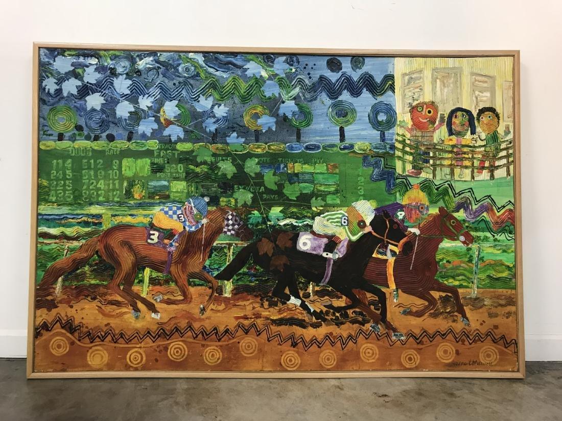 Wadsworth Jarrell Large Signed Acrylic, Horse Race