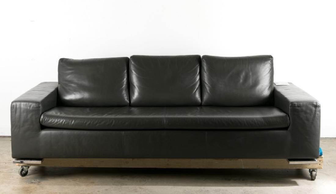 "Minotti Modern Italian Gray Leather ""Moore"" Sofa"
