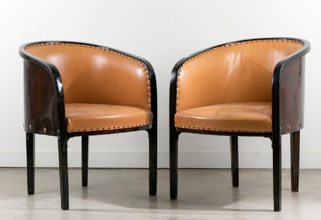 Josef Hoffmann, Pair of Stained Beech Armchairs