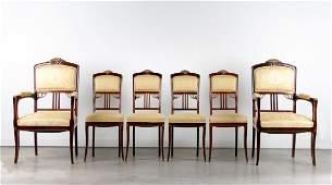Six Art Nouveau Parcel Gilt Walnut Dining Chairs