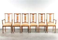 Set, 6 French String Inlaid Maple Dining Chairs