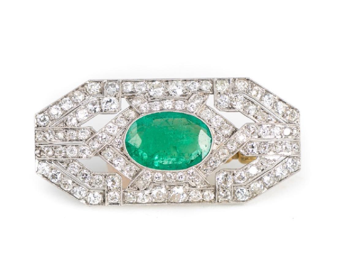 Art Deco Platinum, Emerald & Diamond Brooch or Pin