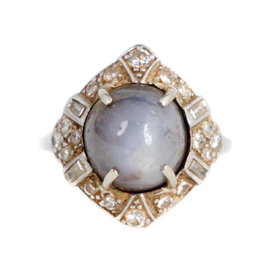 Art Deco Platinum, Gray Sapphire, & Diamond Ring