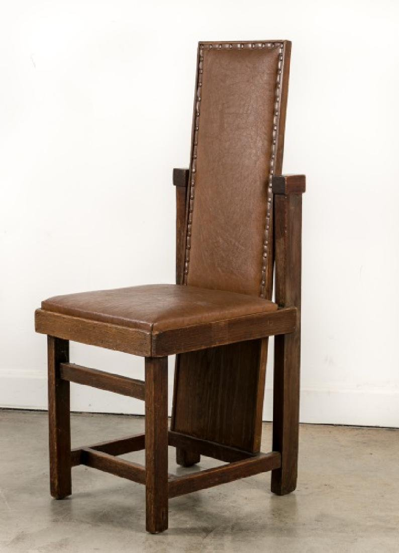 Frank Lloyd Wright Leather Slant Back Chair, 1903
