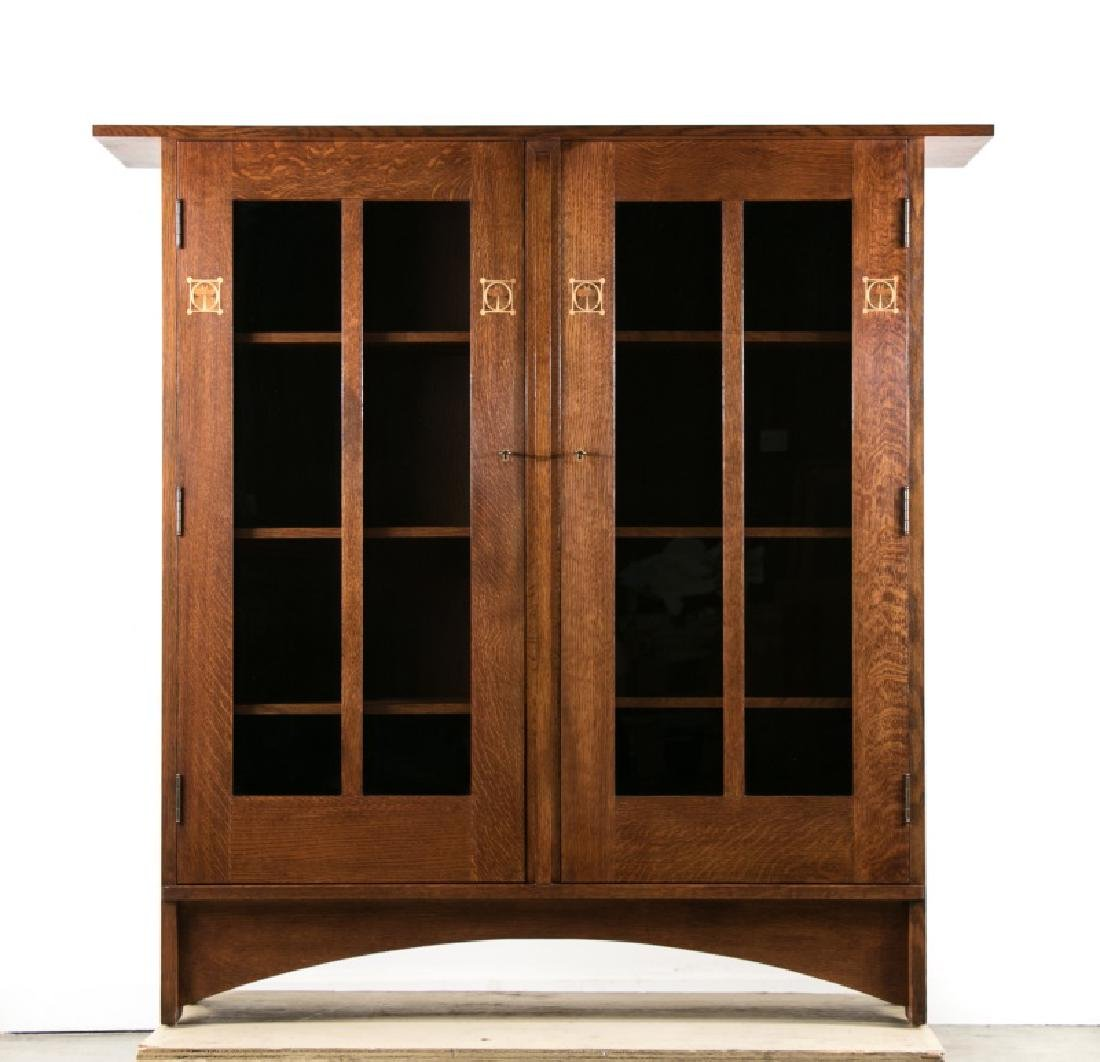 Stickley Arts & Crafts Inlaid Bookcase, 20th C