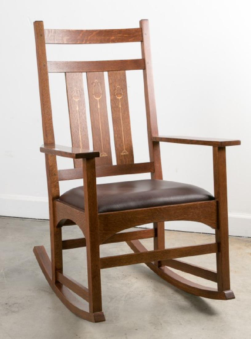 "Stickley ""Harvey Ellis"" Inlaid Oak Rocker"