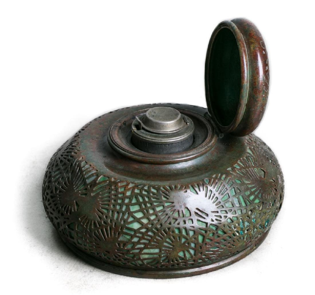 "Tiffany Studios Bronze ""Pine Needle"" Inkwell"
