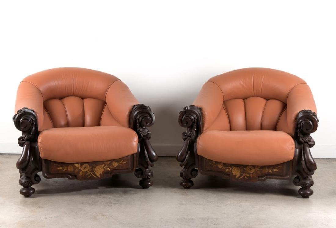 Pair, Art Nouveau Inlaid Leather Club Chairs