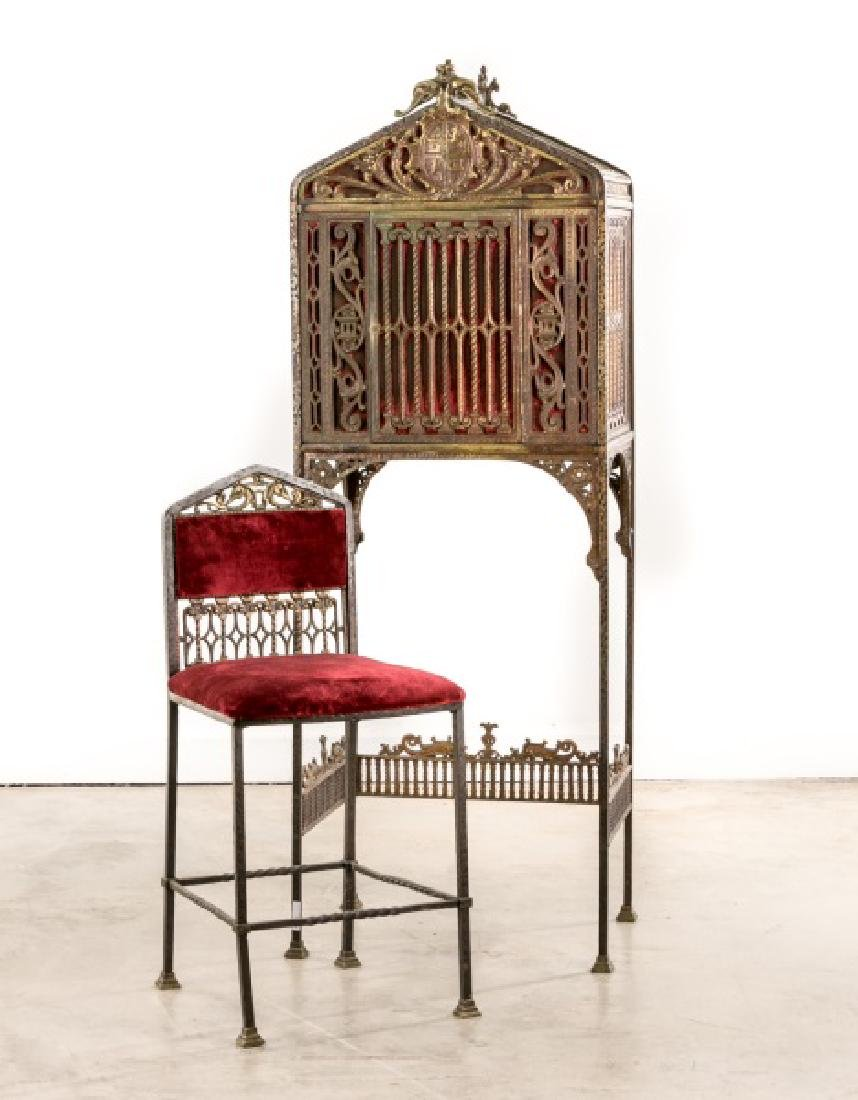 Attributed to Oscar Bach, Telephone Stand & Chair