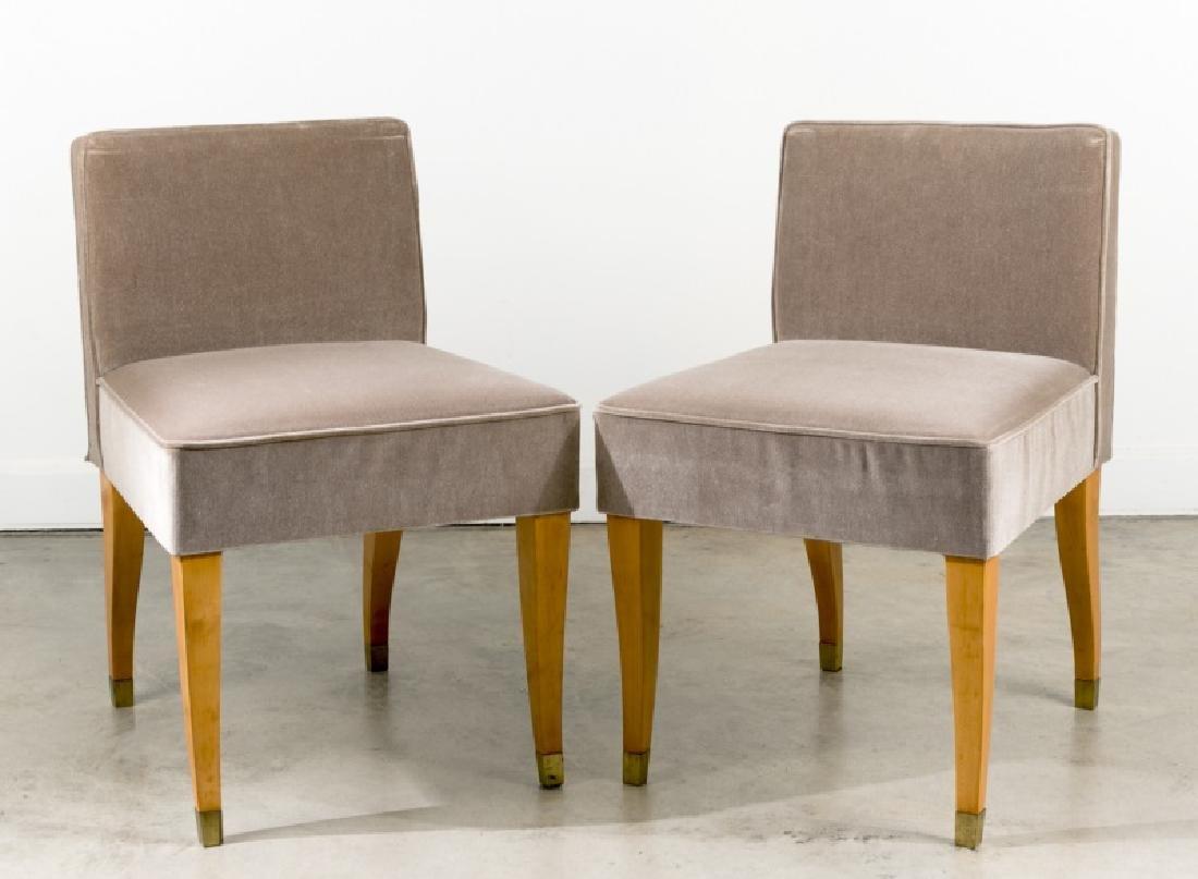 Pair, Gray Velvet Slipper Chairs, Maison Dominique