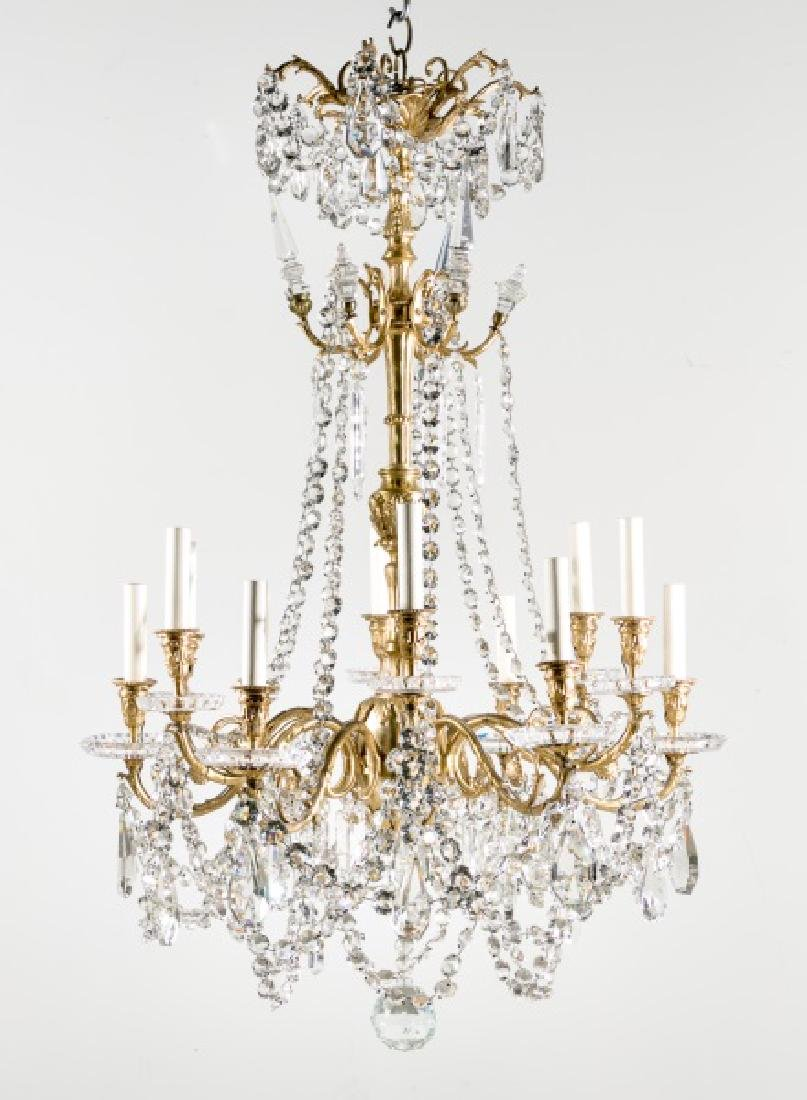 Baccarat Crystal & Gilt Bronze 12 Light Chandelier