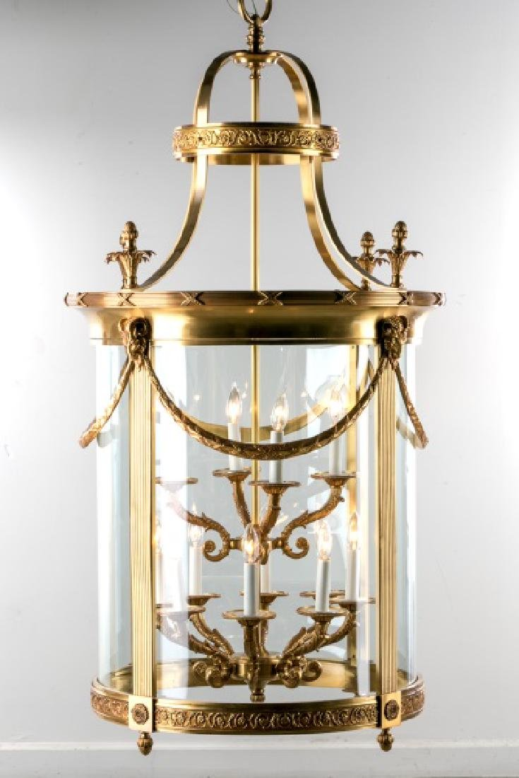 Monumental French Gilt Bronze 12 Light Lantern