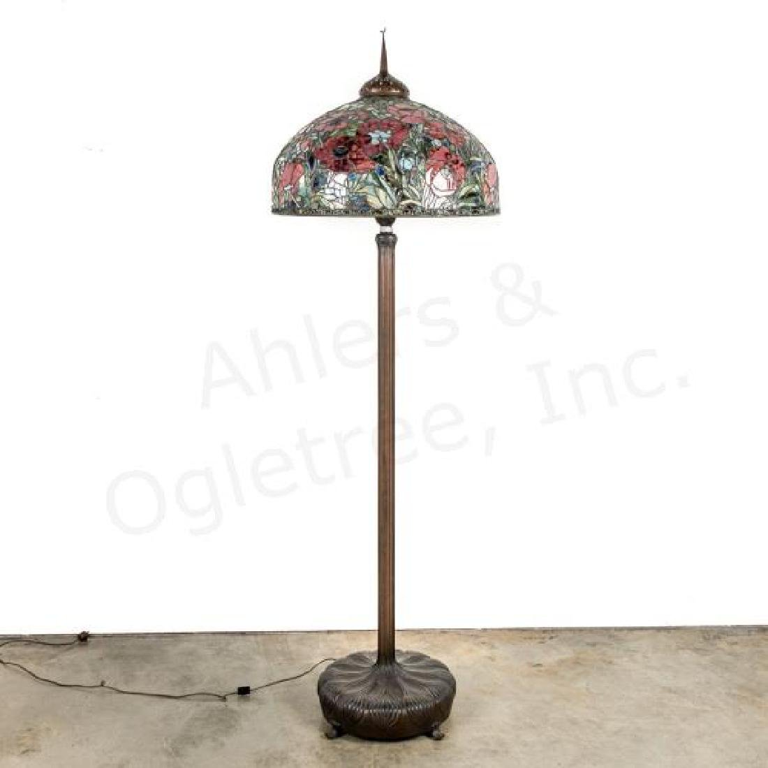 American Tiffany Style Floor Lamp, Leaded Shade