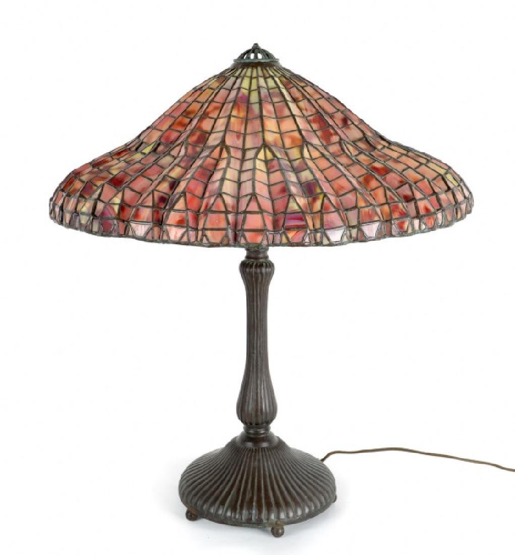 Tiffany Style Geometric Leaded Glass Table Lamp