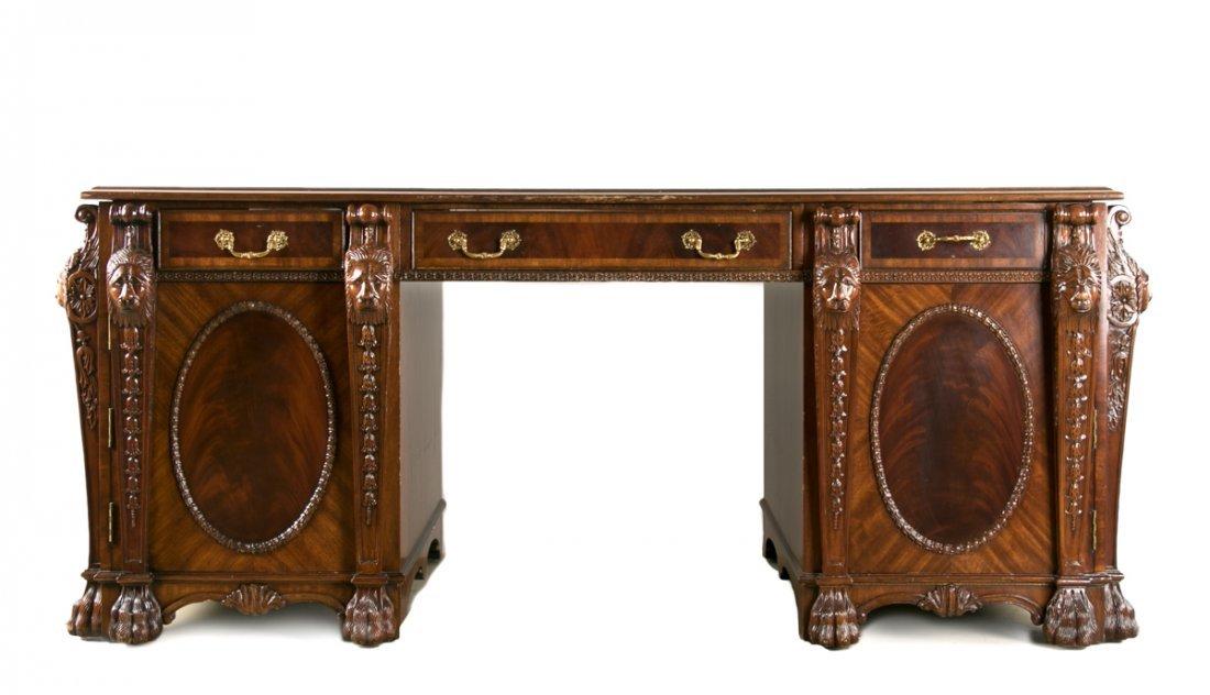 Maitland-Smith Mahogany Partners Desk, Leather Top