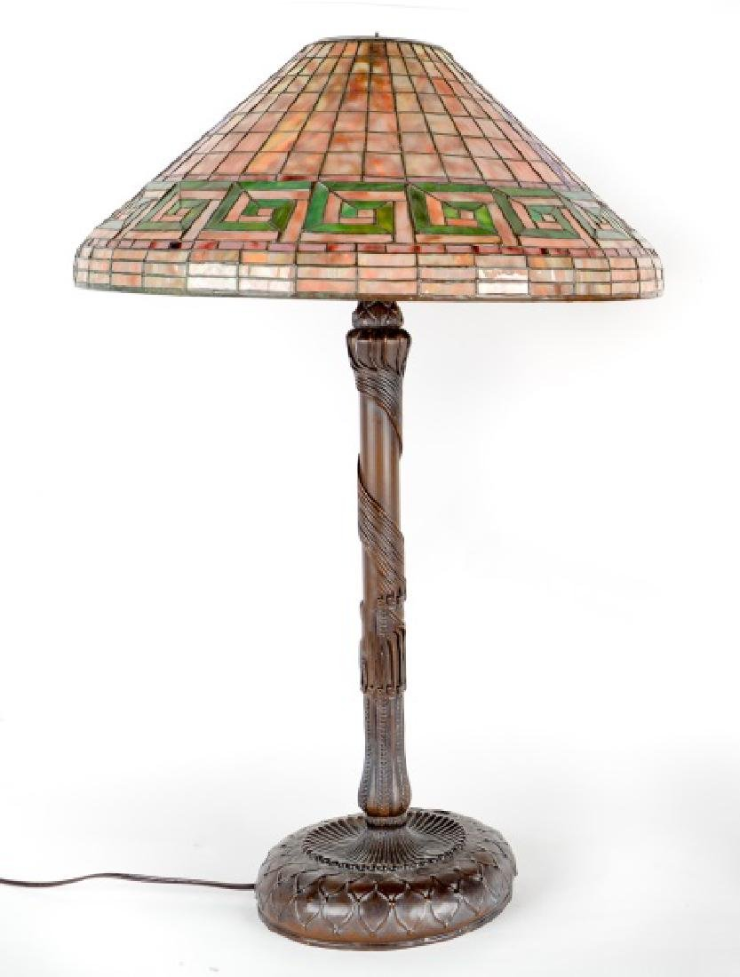 Tiffany Style Leaded Glass Table Lamp, Greek Key