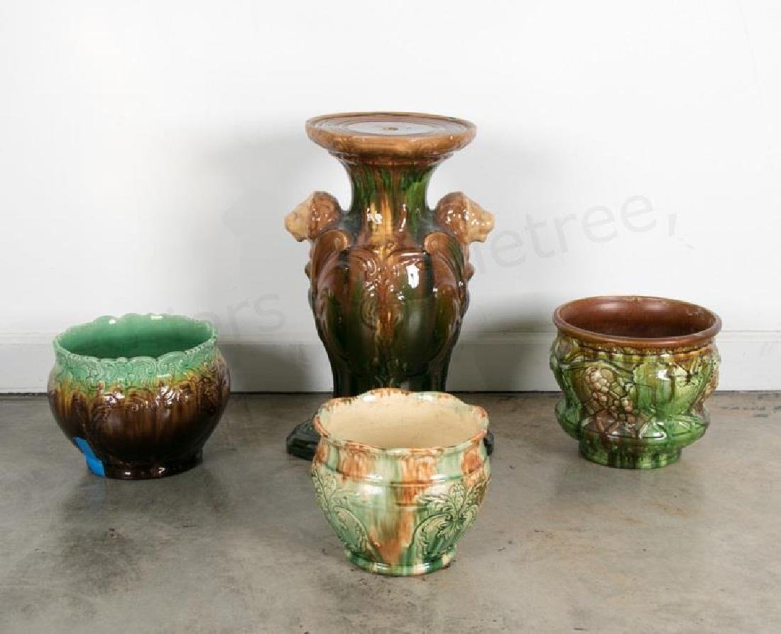 Group of Majolica Pedestal & Bowls, 4 Pieces total