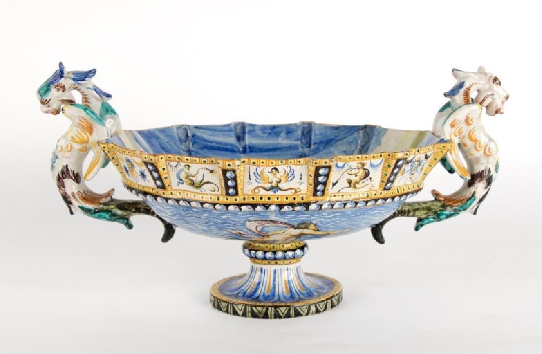 19th/20th C. Majolica Console Bowl, Poseidon Motif