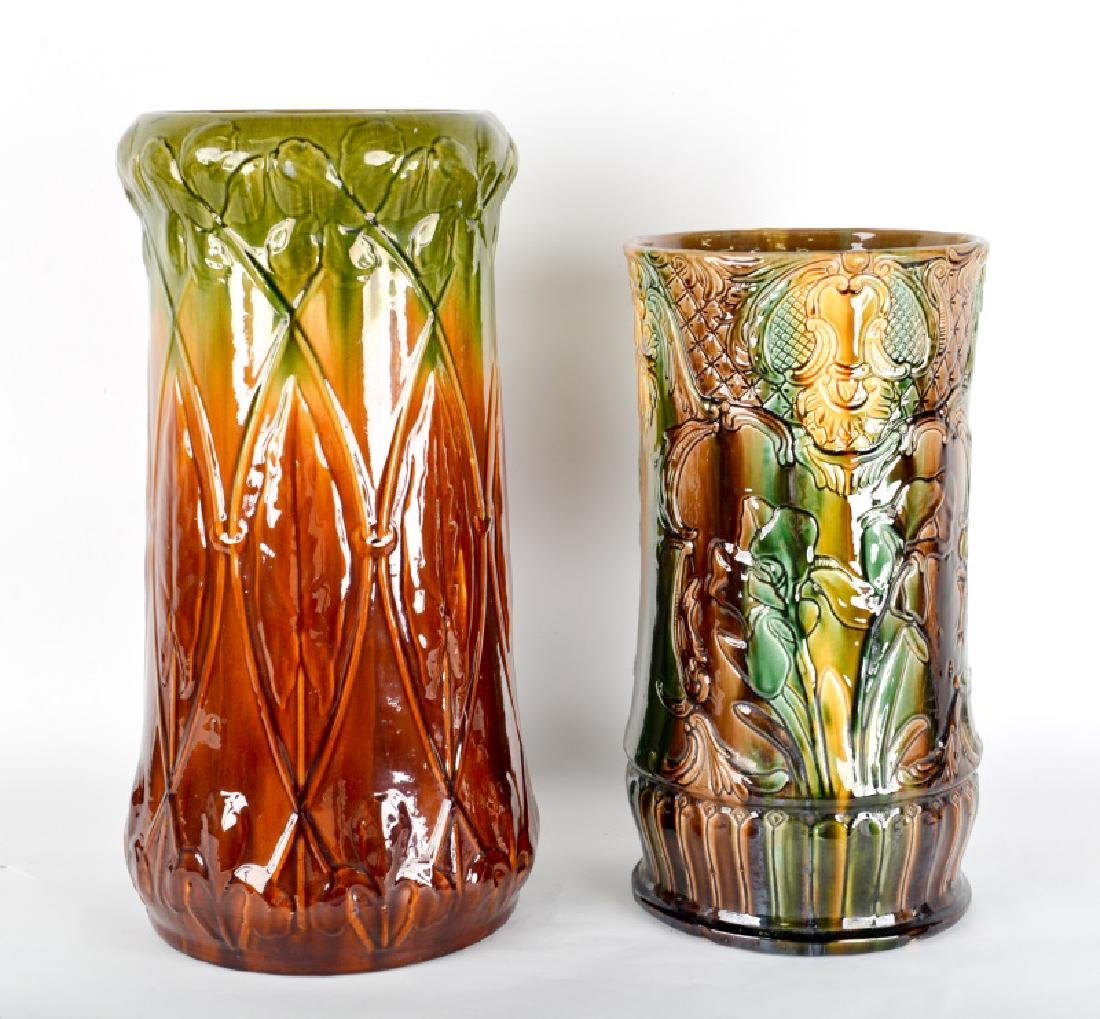 Group of 2 Art Nouveau Majolica Umbrella Stands