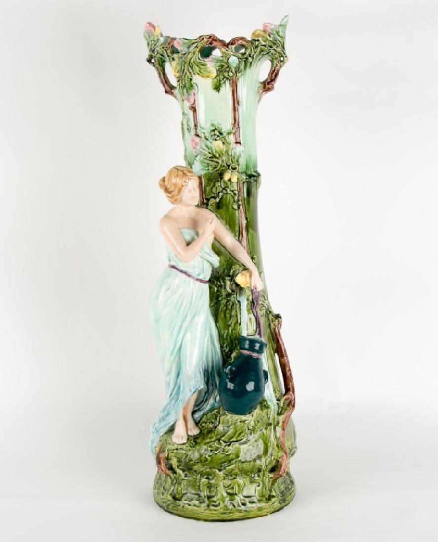 Art Nouveau Majolica Floor Vase, Woman Filling Urn