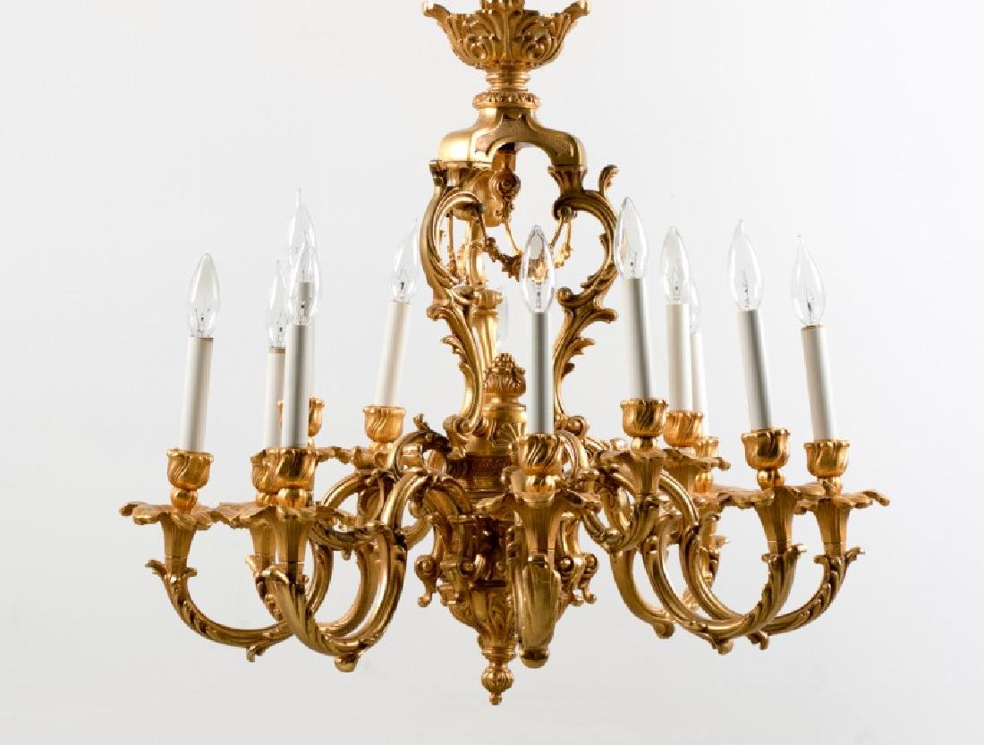Dore Bronze 12-Arm Chandelier, M.S Rau Provenance