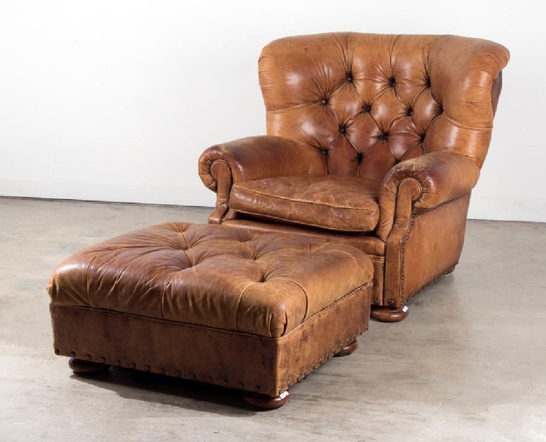 Ralph Lauren Leather Writer's Chair & Ottoman