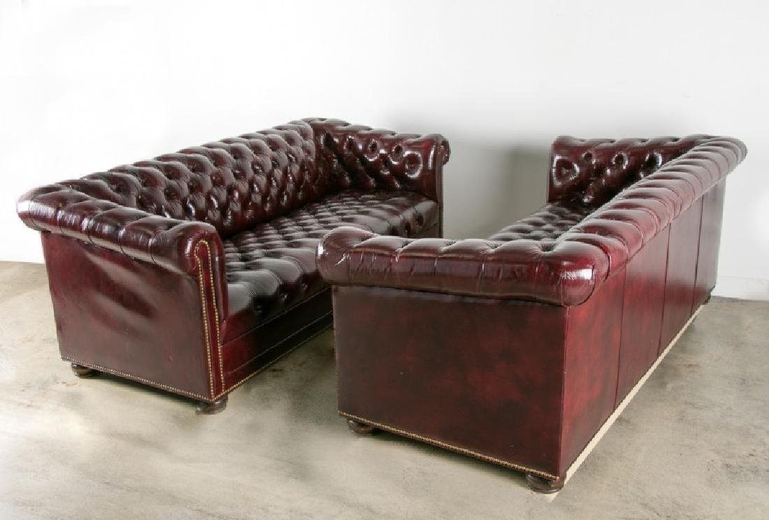 Pair of Red Upholstered Chesterfield Sofas