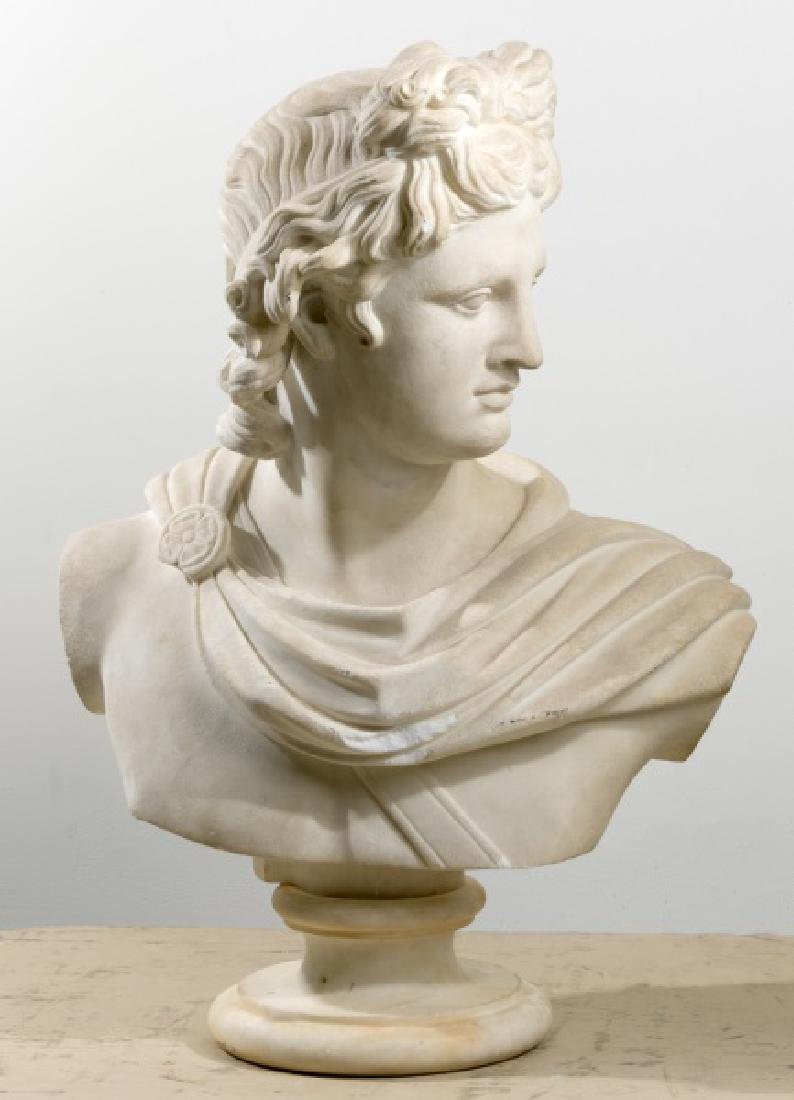 Late 19th C. Marble Bust of Apollo on Socle Base