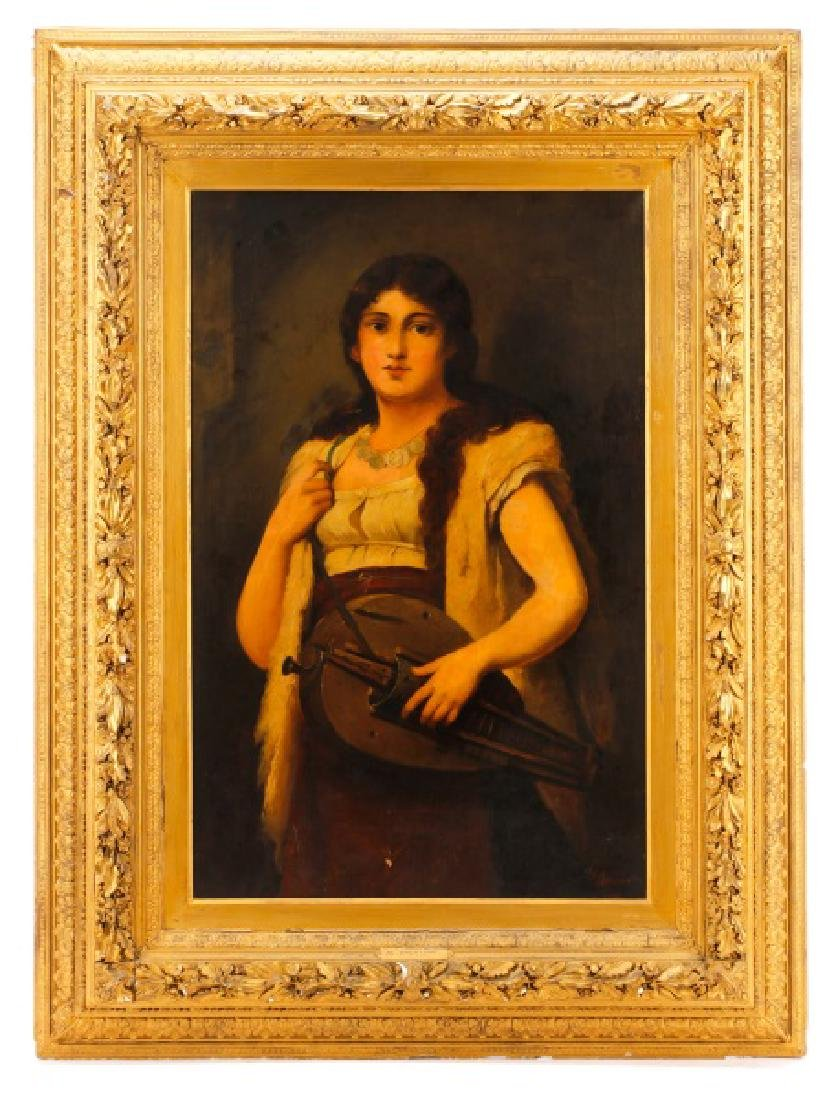 "Anton Brentano, ""Portrait of a Girl"", Oil"