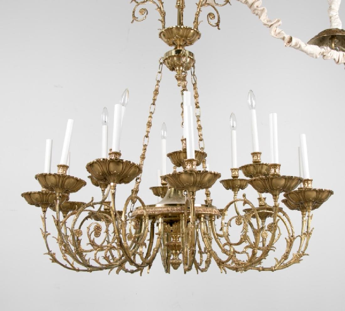 19th/20th C Continental Bronze 18 Light Chandelier