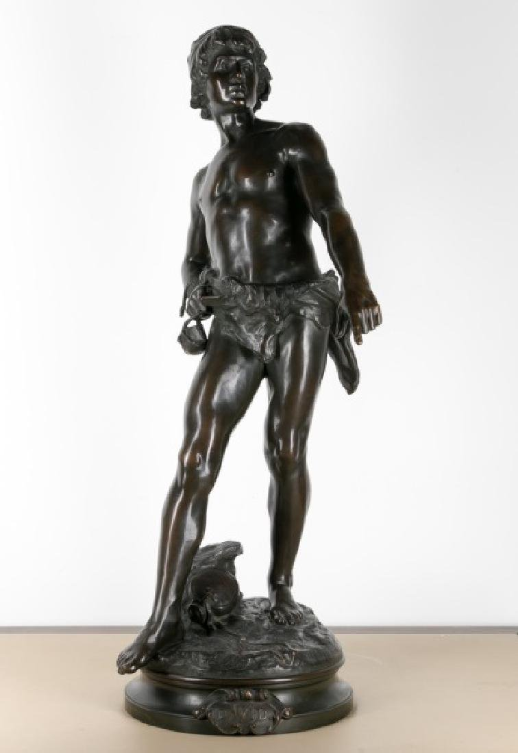 Large Bronze Figure of David by Louis Moreau