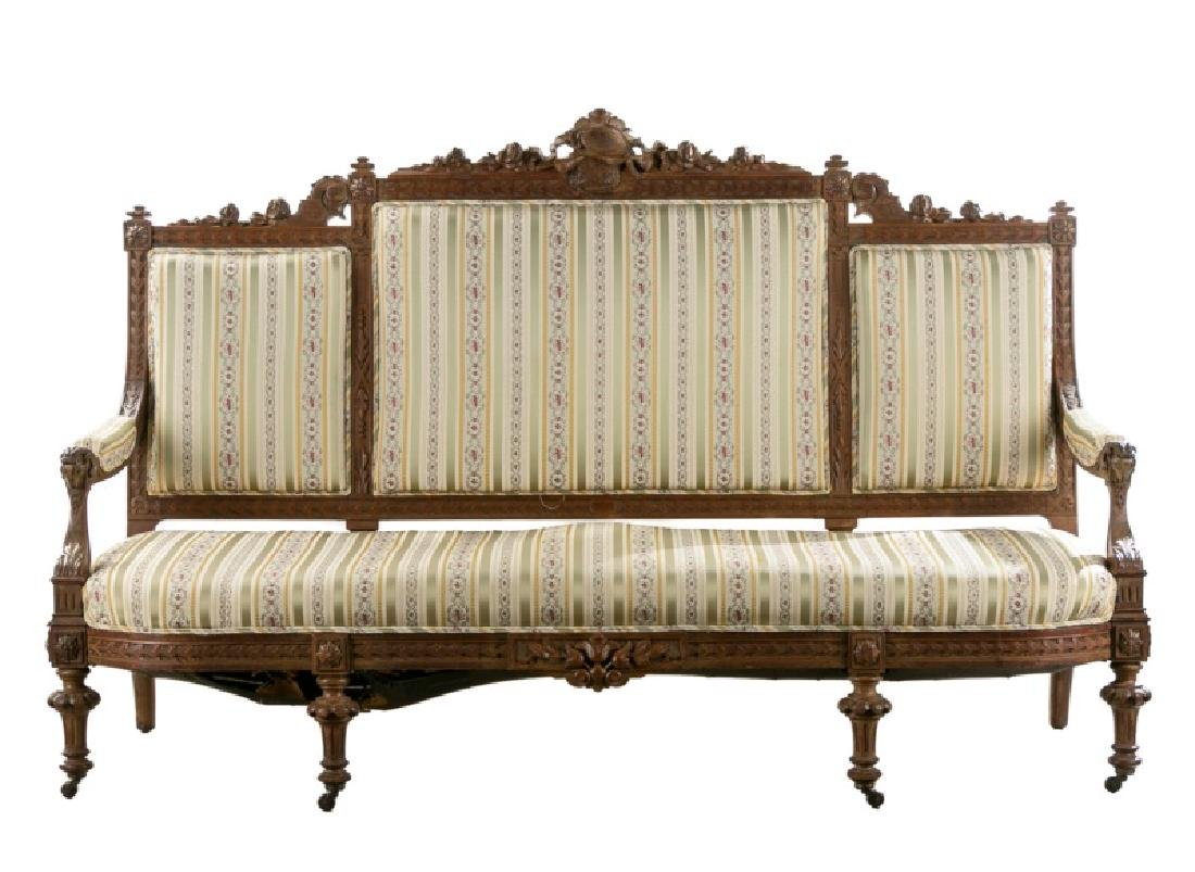 19th C. French Large Carved Walnut Sofa
