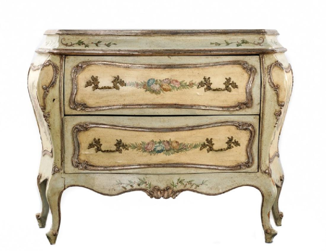 *19th C. Venetian Polychromed Bombe Commode