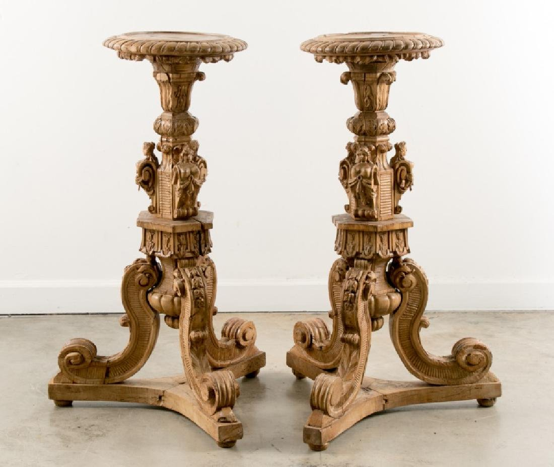 Pair, 19th C Italian Rococo Style Carved Pedestals