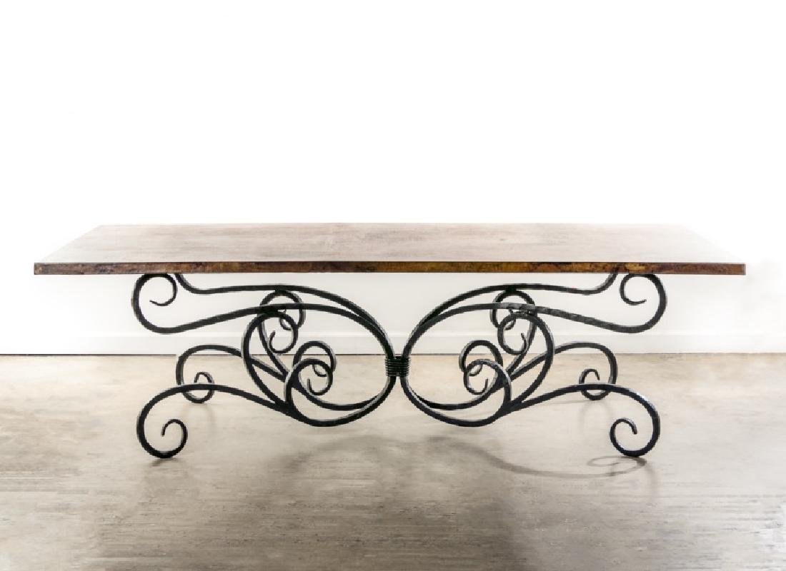 Copper Top Dining Table with Wrought Iron Base