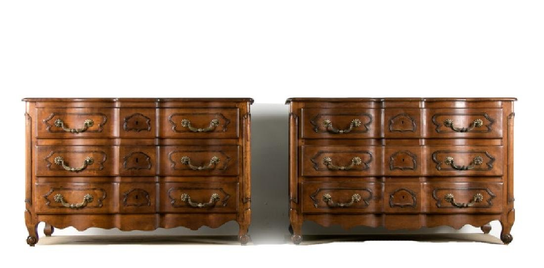 Pair of French Provincial Walnut Chests, 20th C.