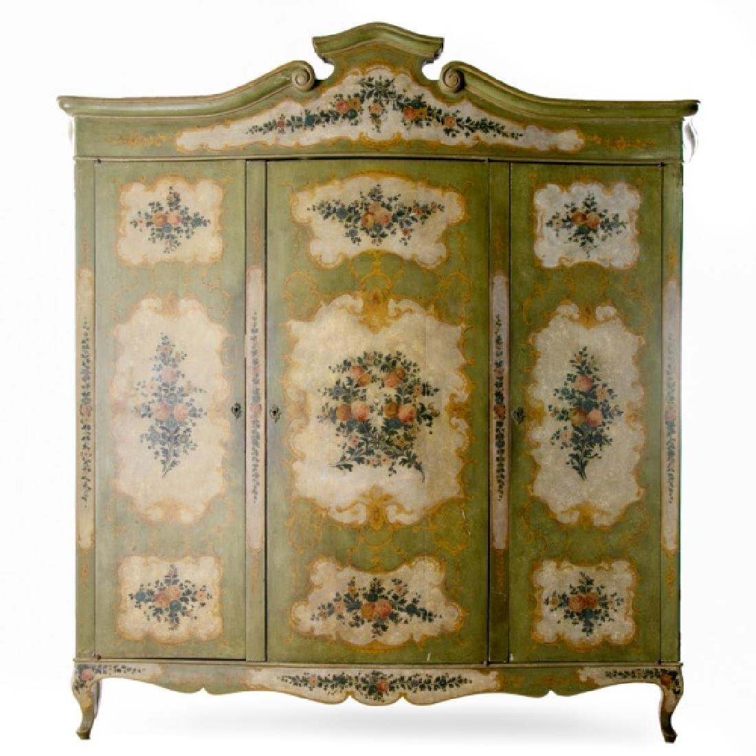 French Polychrome Decorated Triple Door Armoire