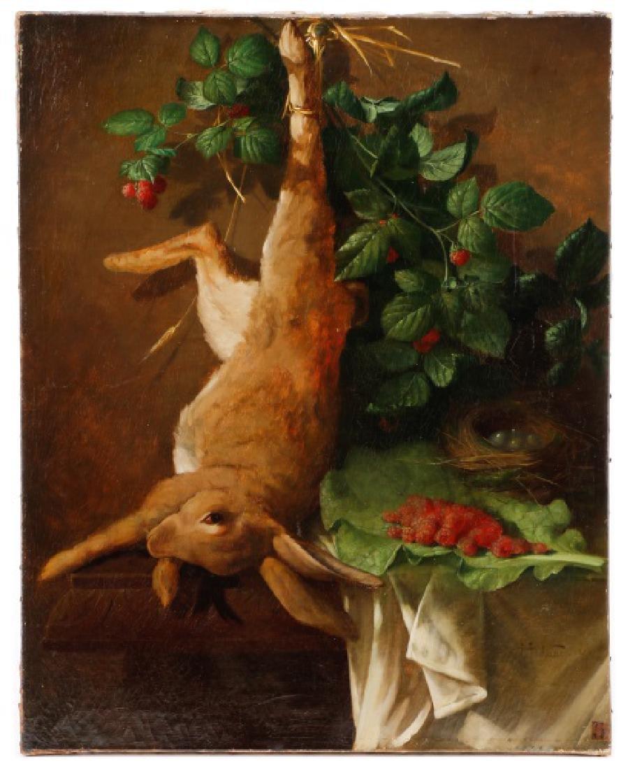 """Hippolyte Michaud 1867 Oil """"Natura Morta de Lapin"""""""