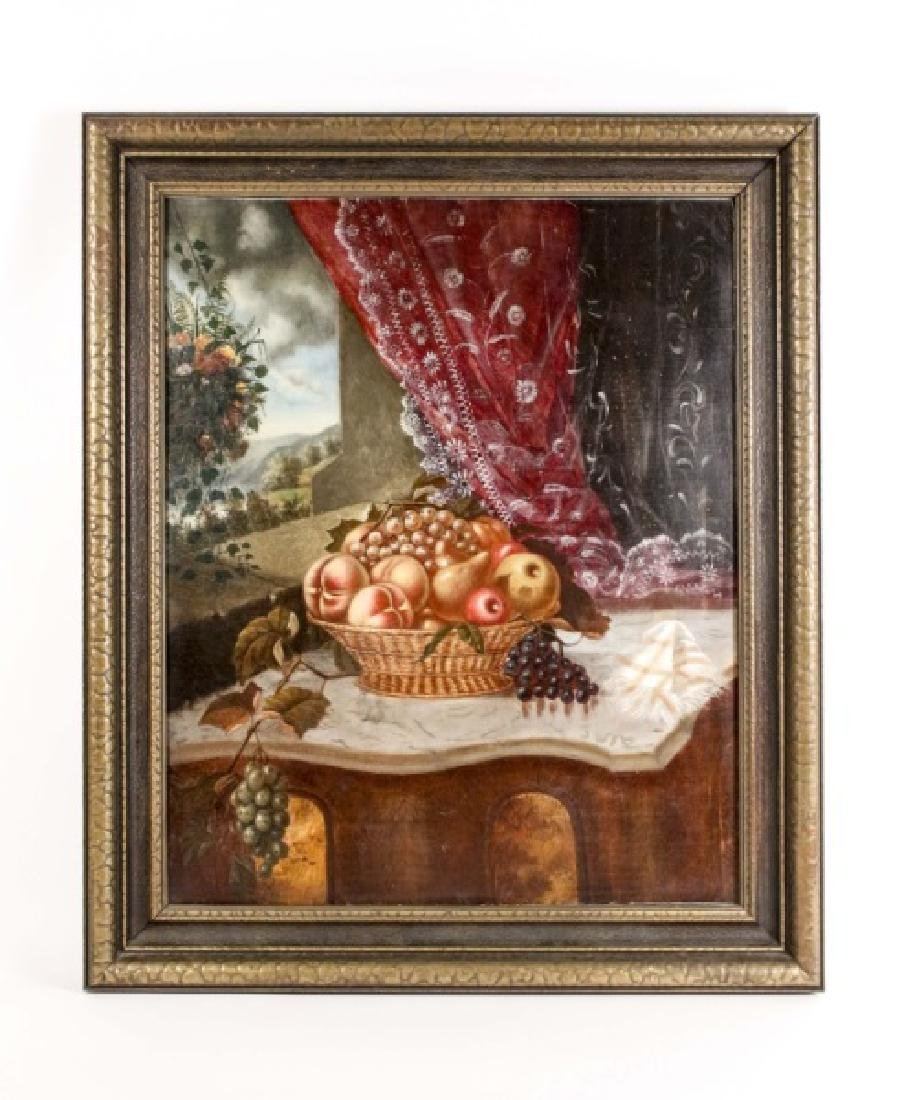 19th C. American School Oil, Still Life with Fruit