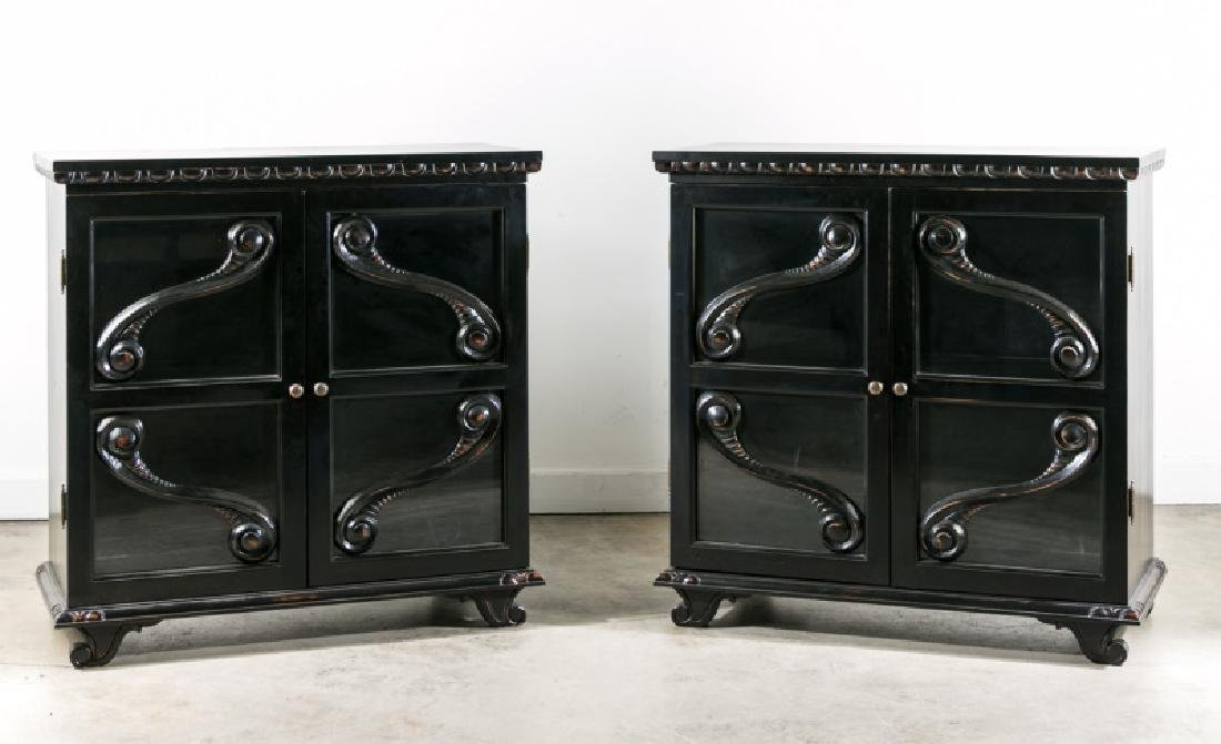 Pair, Carved & Painted Glass Door Cabinets