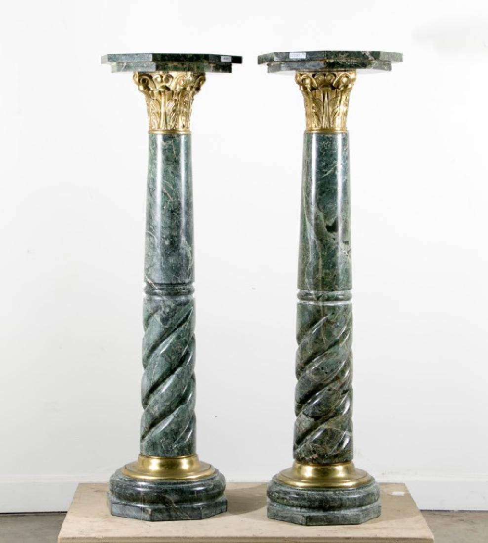Pair of Italian Green Marble & Gilt Pedestals