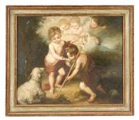 19th C Oil After Murillo Children of the Shell